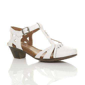 0705e9b36be Ajvani womens mid block heel cut out t-bar smart work casual summer ankle  strap