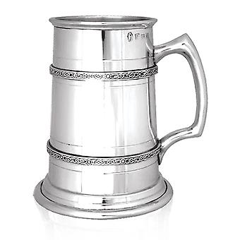 Celtic 2 Band Heavy Gauge Pewter Tankard - 1 Pint +