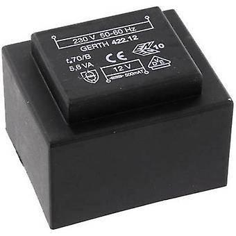 PCB mount transformer 1 x 230 V 2 x 4.50 V AC 5.60 VA 622 mA PTB420902 Gerth