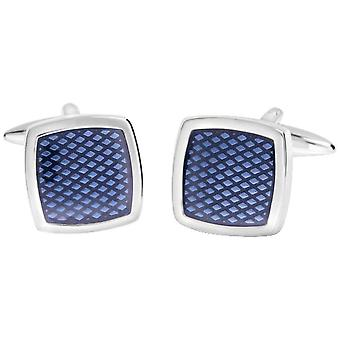 David Van Hagen Shiny Square Textured Enamel Cufflinks - Blue/Silver