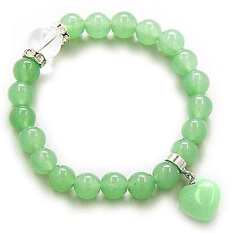Swarovski And Green Aventurine Heart Money Talisman Bracelet