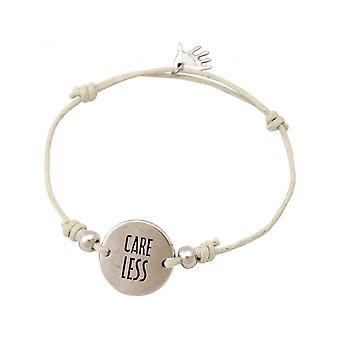 Women - bracelet - engraved - CARE LESS - silver - nude