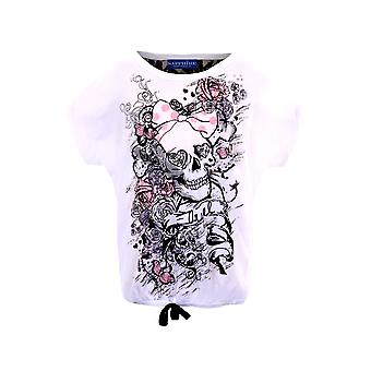 Children's Skull Rose Print Glitter Lace Back Party Casual Girls Top T-shirt