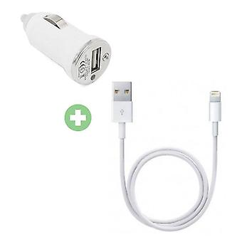 Stuff Certified ® 2 in 1 Charger Charging Cable / Data Cable & Car Charger / iPhone Carcharger 1 Meter