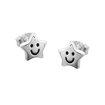 Earstuds star with face silver 925