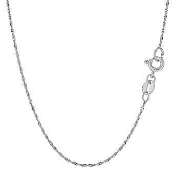 10 k белого золота Сингапур ожерелье цепь, 1,0 мм