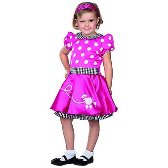 Fiftys dress pink dots poodle children carnival skirts Billy costume girl