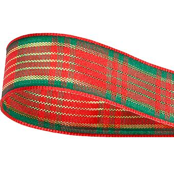 15mm Satin Christmas Red and Green Tartan Ribbon for Crafts - 10m