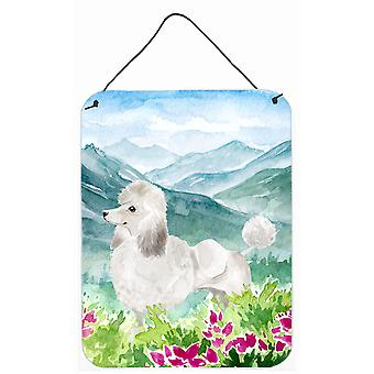 Mountian Flowers White Poodle Wall or Door Hanging Prints
