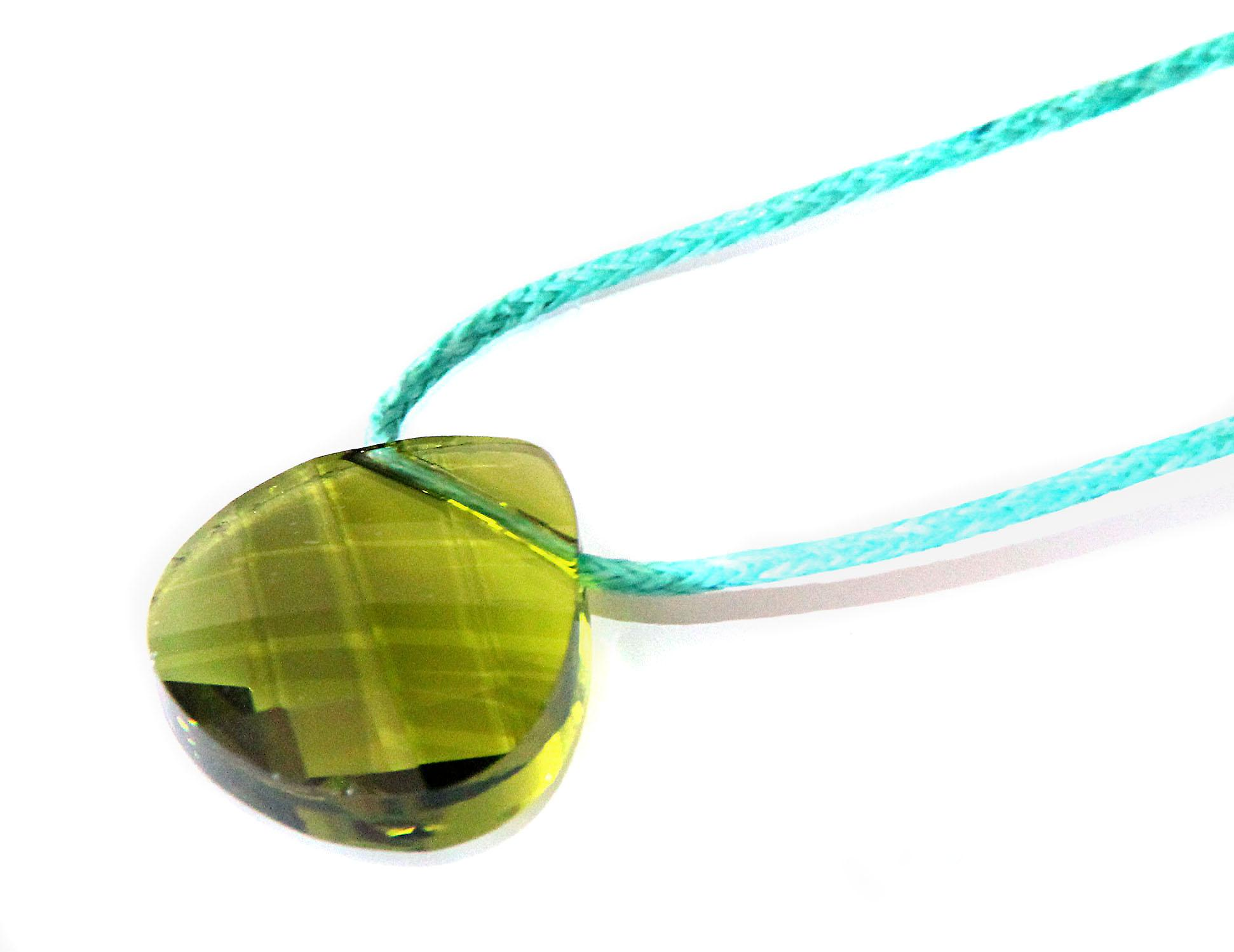 Waooh - Bijoux - Swarovski / Pendentif pétale vert et cordon ciré