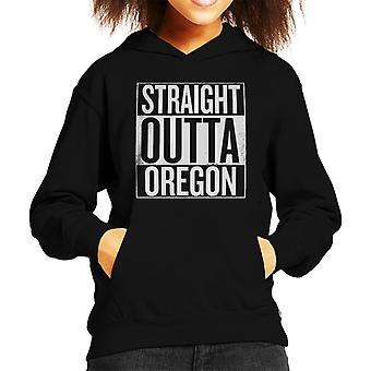 White Text Straight Outta Oregon US States Kid's Hooded Sweatshirt