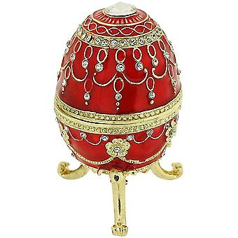 Juliana Large Red Treasured Trinket Faberge-Style Egg Jewellery Box