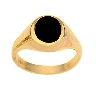 9ct Gold 11x9mm ladies Onyx set oval Signet ring