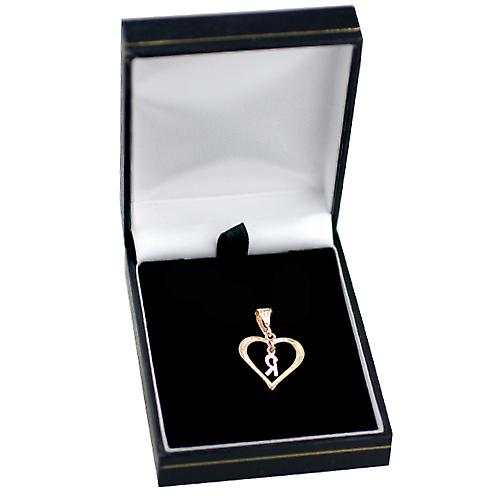 9ct Gold 18x18mm heart Pendant with a hanging Initial R