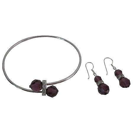 Enchanta Collection Swarovski Classy Amethyst Crystals Jewelry