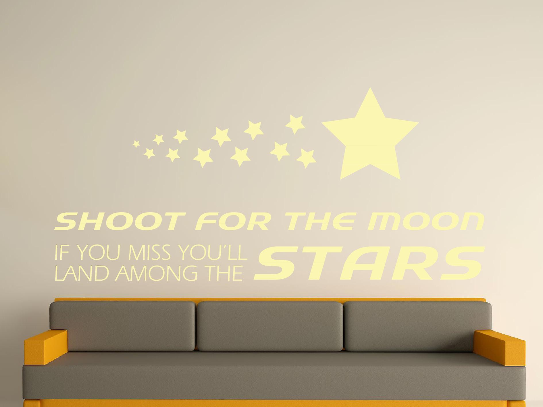 Shoot For The Moon Wall Art Sticker - Beige