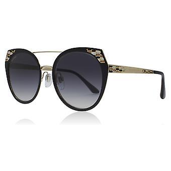 Bvlgari BV6095 20248G Black/Pale Gold BV6095 Round Sunglasses Lens Category 3 Size 53mm