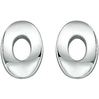 Bella Oval Stud Earrings - Silver