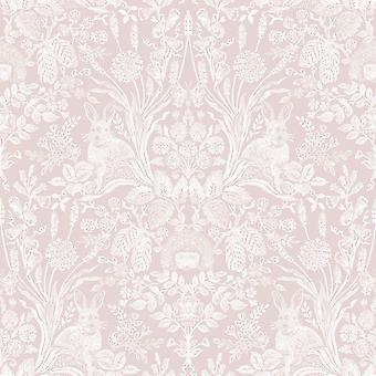 Holden Decor Harlen Wallpaper Trees Flowers Hedgehogs Leaves Rabbits Damask Soft Pink/White