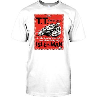 TT las razas isla de Man Poster Retro - camiseta de moto para hombre