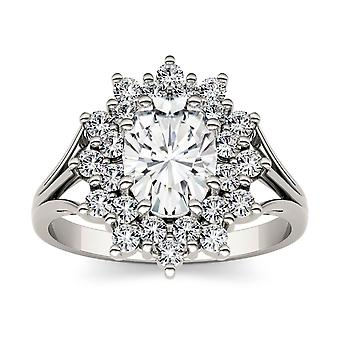 14K White Gold Moissanite by Charles & Colvard 8x6mm Oval Fashion Ring, 1.98cttw DEW