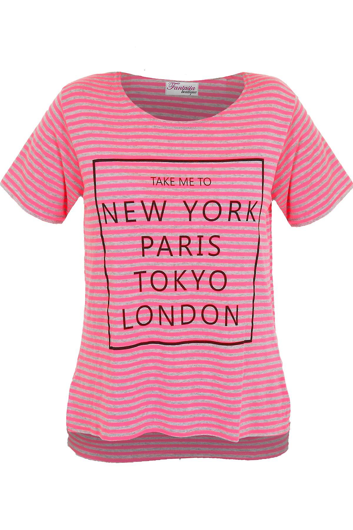 Girls Short Sleeve Tokyo New York Paris London Stripe Print High Low T-Shirt Top