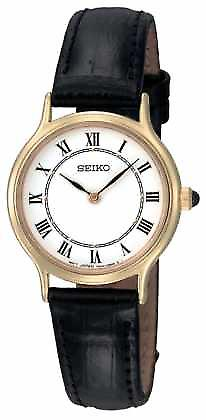 Seiko Womens White Dial Black Leather Strap SFQ830P1 Watch