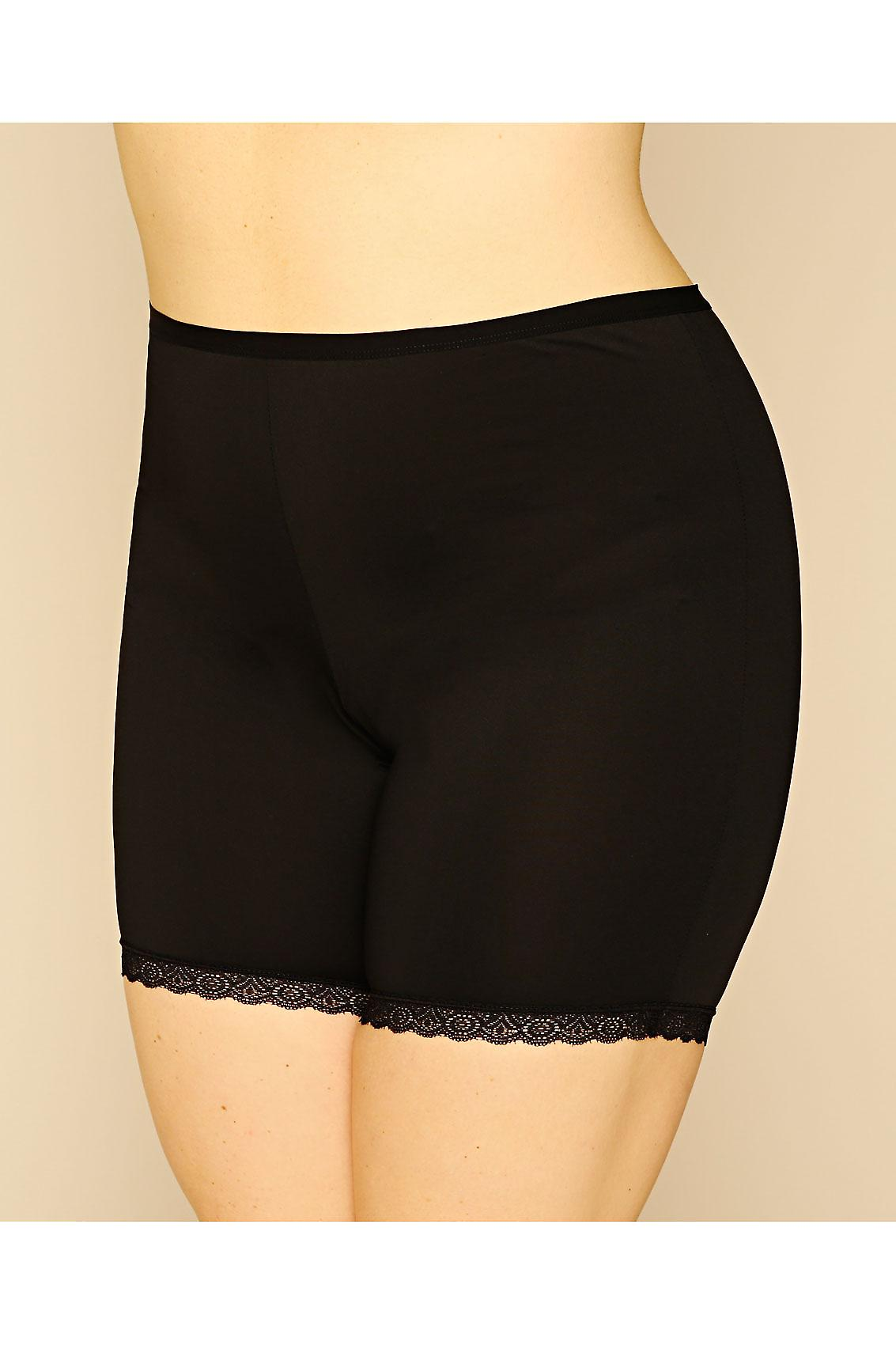 Black Thigh Smoother Brief With Lace Detail Hem