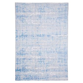 Modern carpet weaving carpet short flor indoor abstract light blue 80 x 150 cm stain protection cotton mixture