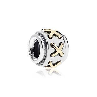 Pandora Cross Stitch Silver & 14k Gold Charm 790290