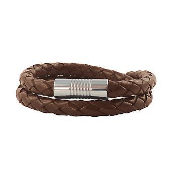 Cordon en cuir en cuir 6 mm collier homme brun 17-100 cm de long avec fermage magnétique argent tressé