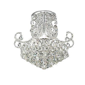 Diyas Pearl Ceiling Round 9 Light Polished Chrome/Crystal