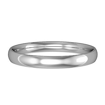 Jewelco London Platinum - 2.5mm Essential Light Court-Shaped Band Commitment / Wedding Ring