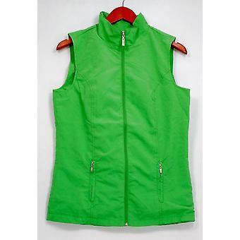 Denim & Co. Vest Zip Front Vest w/ Pockets Green A232168