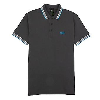 Hugo Boss Paddy Short Sleeve Polo Shirt Grey/Electric Blue
