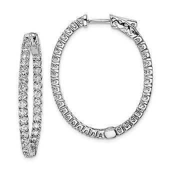 925 Sterling Silver Polished Hinged hoop Safety clasp Rhodium-plated Rhodium Plated With Cubic Zirconia Hinged Oval Hoop