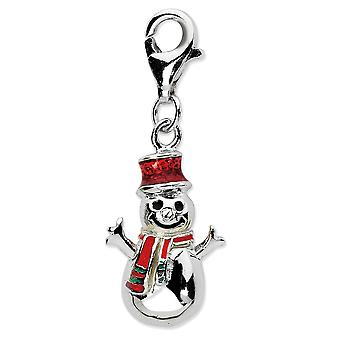 925 Sterling Silver Rhodium-plaqué Fancy Lobster Closure Enamel Snowman With Lobster Clasp Charm - Mesures 29x11mm
