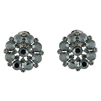 Clip op oorbellen winkel Jet Black Swarovski Crystal bloem Cluster Clip op oorbellen