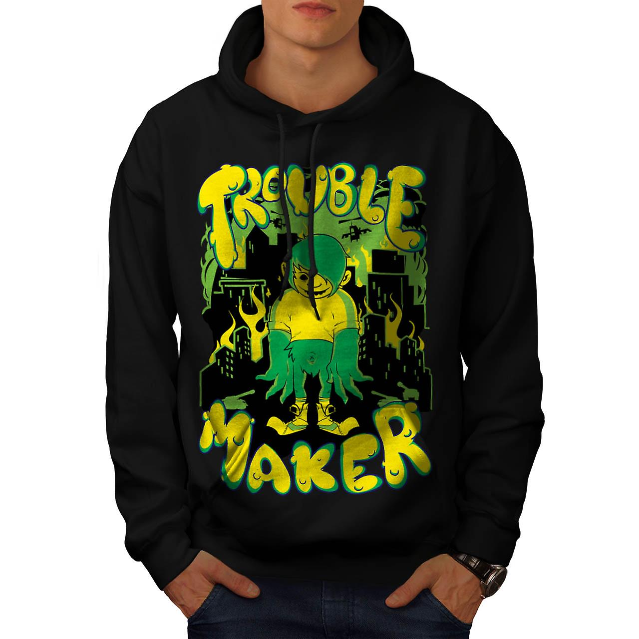 Trouble Maker Youth Chaos Problem Men Black Hoodie | Wellcoda