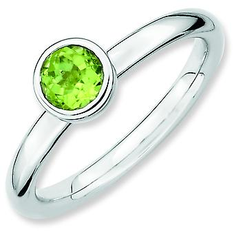 Sterling Silver Bezel Polished Rhodium-plated Stackable Expressions Low 5mm Round Peridot Ring - Ring Size: 5 to 10