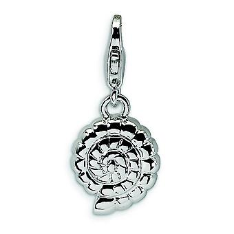 Sterling Silver Polished Shell With Lobster Clasp Charm - 1.5 Grams - Measures 24x11mm