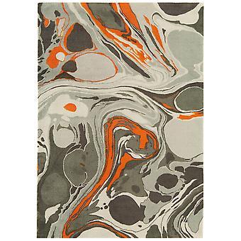 Baraki Grey & Orange Acrylic Contemporary Rug