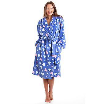 Ladies Supersoft Stars & Hearts Design Fleece Wrap Over Dressing Gown Bathrobe