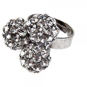 Camille Womens Ladies Fashion Jewellery Silver Three Ball Cluster Adjustable Diamante Ring