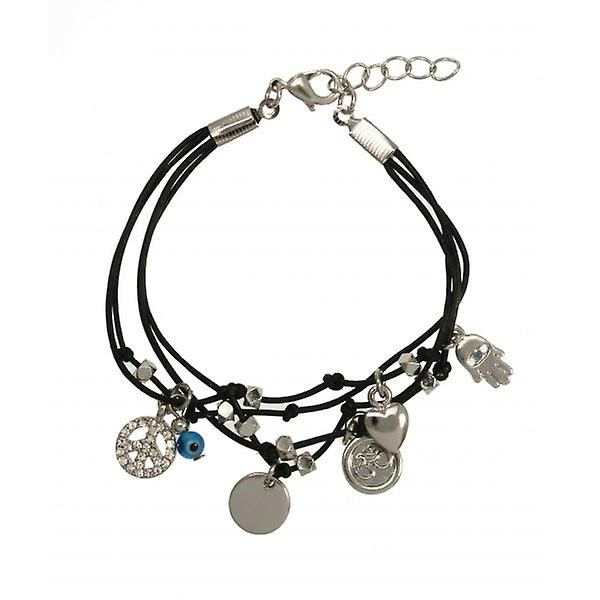 W.A.T Black Layered Crystal Peace Symbol Charm Bracelet