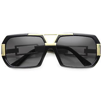 Große Fashion Square Urban Spec Sonnenbrille mit Würfel geschnittenen Metallarmen