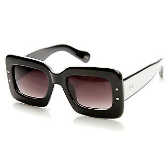 Bold Rim Block Two-Tone Color Square Frame Sunglasses
