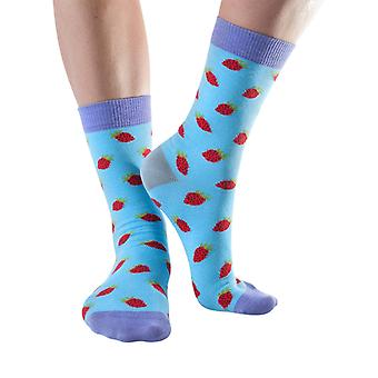 Strawberry women's soft bamboo crew sock in sky blue | By Doris & Dude