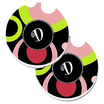 Letter D Monogram - Retro in Black Set of 2 Cup Holder Car Coasters