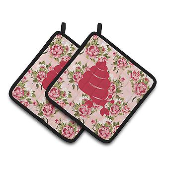 Hermit Crab Shabby Chic Pink Roses  Pair of Pot Holders
